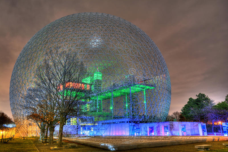 Montreal biosphere at night. In autumn royalty free stock image