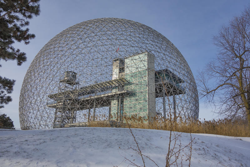 Montreal Biosphere in winter. With snow and blue sky stock photo