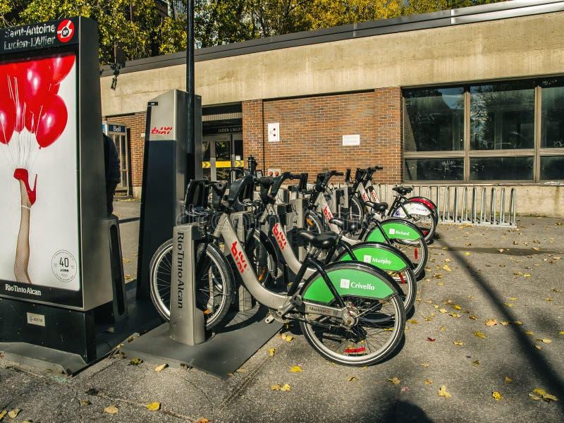 Montreal bixi Fahrräder lizenzfreie stockfotografie