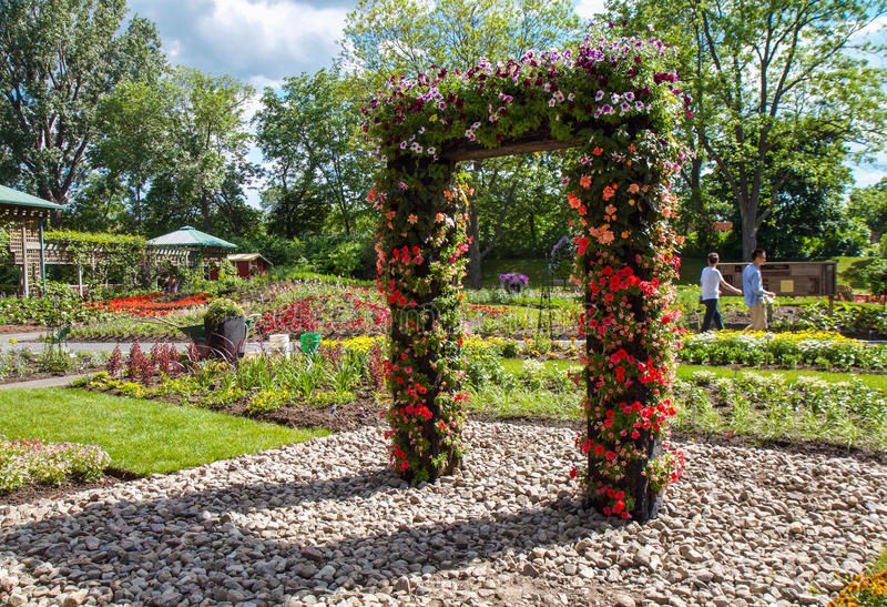Montreal Botanical garden. Visitors admire special management in Montreal Botanical garden stock images