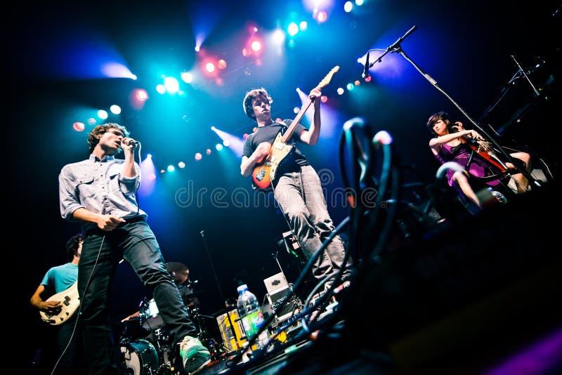 MONTREAL, CANADÁ - 23 de mayo de 2013: Ra Ra Riot en concierto en la metrópoli. imágenes de archivo libres de regalías