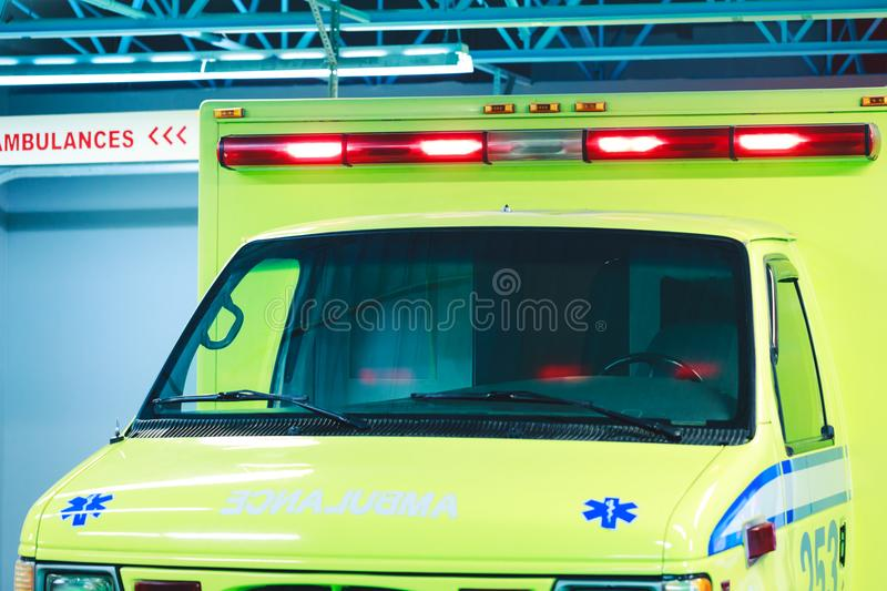 Montreal, Canada – March 25, 2018: Canadian ambulance car with royalty free stock images