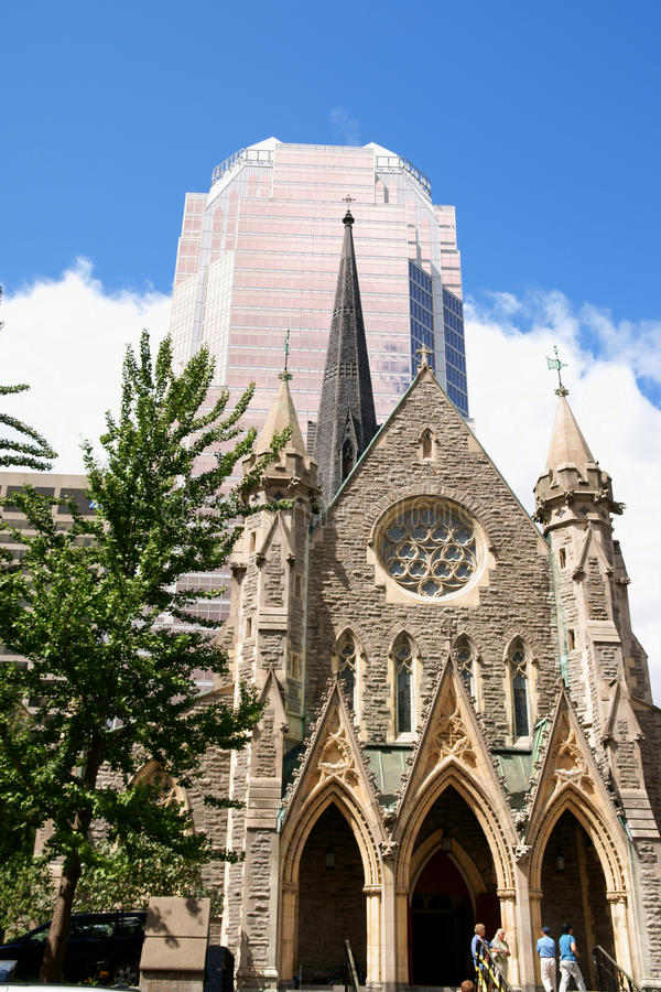 Christ Church Cathedral and KPMG Tower in Montreal royalty free stock photography