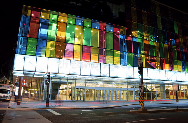 Montreal Convention Centre, Canada. Montreal, Canada - August 19, 2008: Montreal Convention Centre (Palais des Congres de Montreal) with its colorful glass stock image