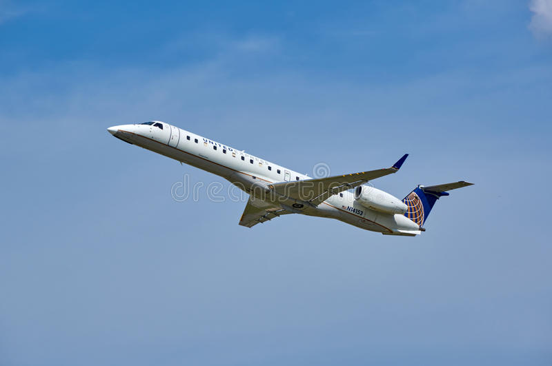 United Airlines N14153 Embraer plane taking off. stock image