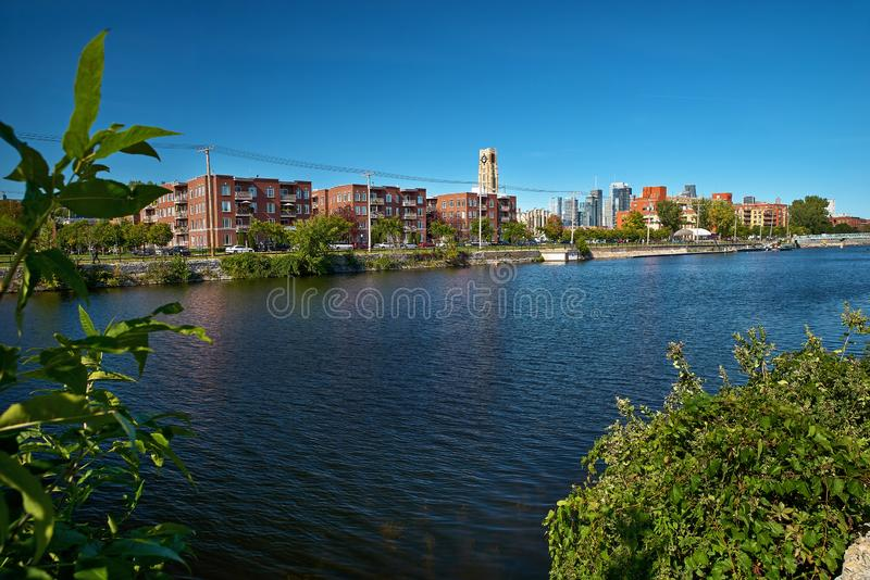 MONTREAL, CANADA - CIRCA SEPTEMBER 2018: Canal de Lachine on a late afternoon. Travel in Canada stock photo