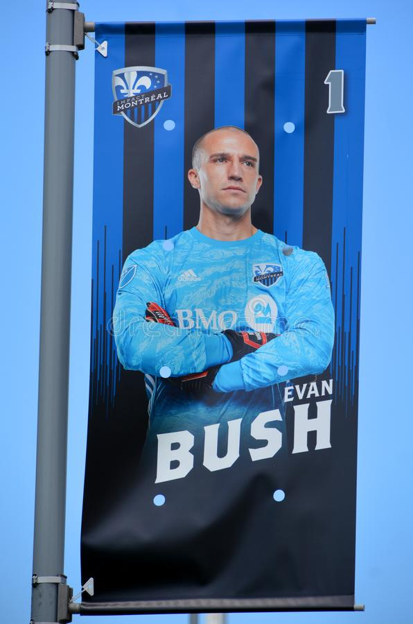 Evan William Bush. MONTREAL CANADA 07 12 2019:  Evan William Bush born March 6, 1986 is an American soccer player for Montreal Impact in Major League Soccer royalty free stock image