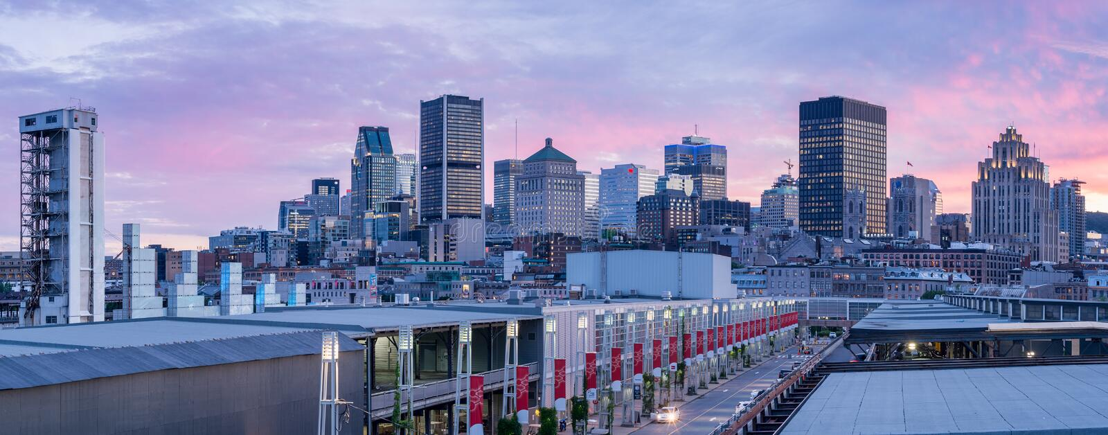 Montreal Skyline from Old Port royalty free stock images