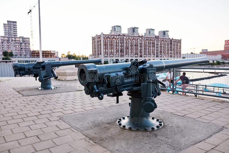 Artillery cannon at old port clock tower Quai de l`Horloge in Montreal, Quebec, Canada royalty free stock photography