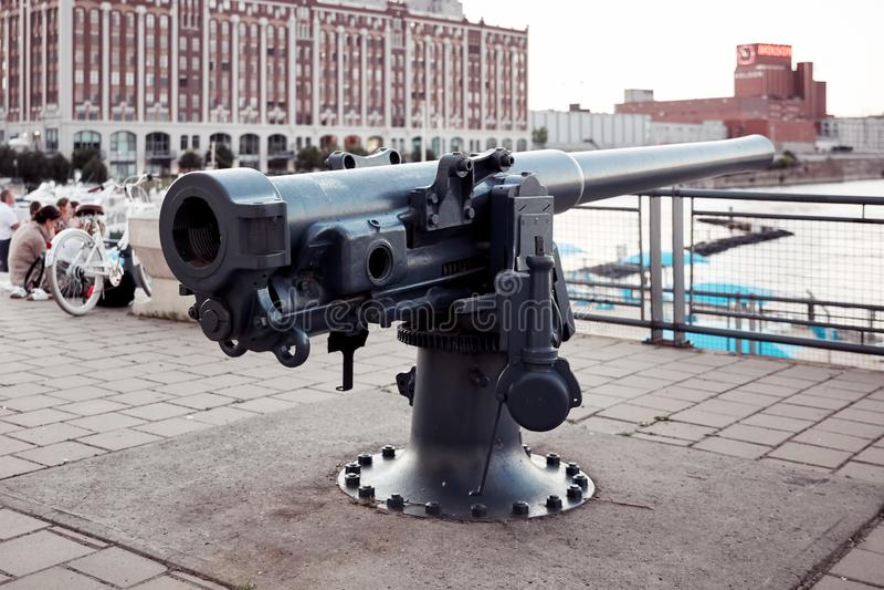 Artillery cannon at old port clock tower Quai de l`Horloge in Montreal, Quebec, Canada stock photo