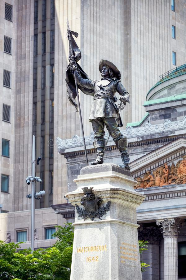 Monument of sieur de Maisonneuve in place d`armes square in Montreal, Quebec, Canada. Montreal, Canada - June, 2018: Monument of sieur de Maisonneuve Paul de royalty free stock image