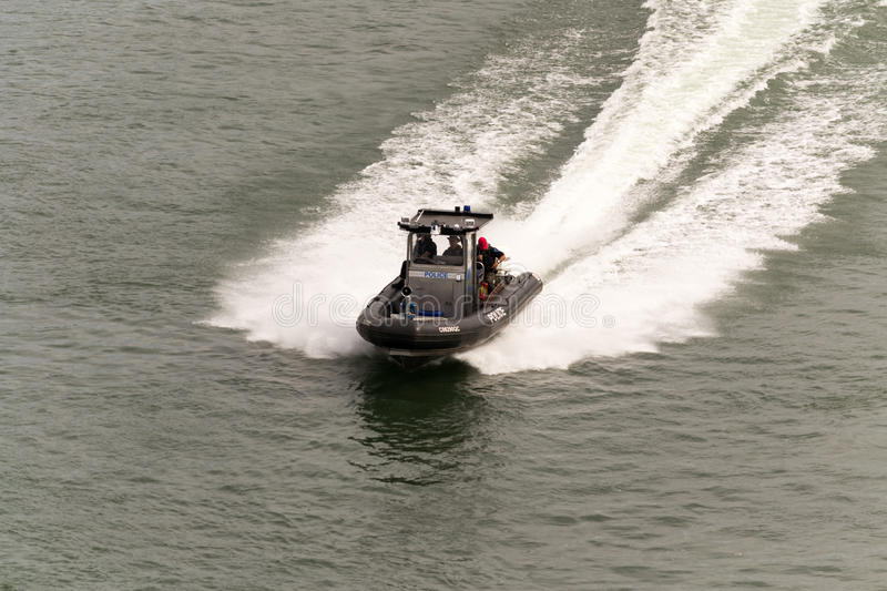 Montreal, Canada - June 07, 2015:Police speed boat rushing to co royalty free stock photos