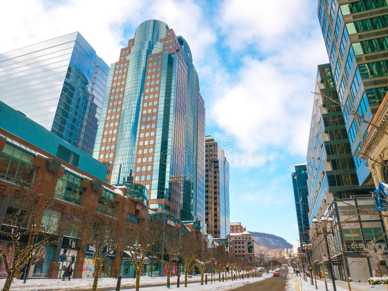 Montreal downtown. McGill street, Canada royalty free stock photography