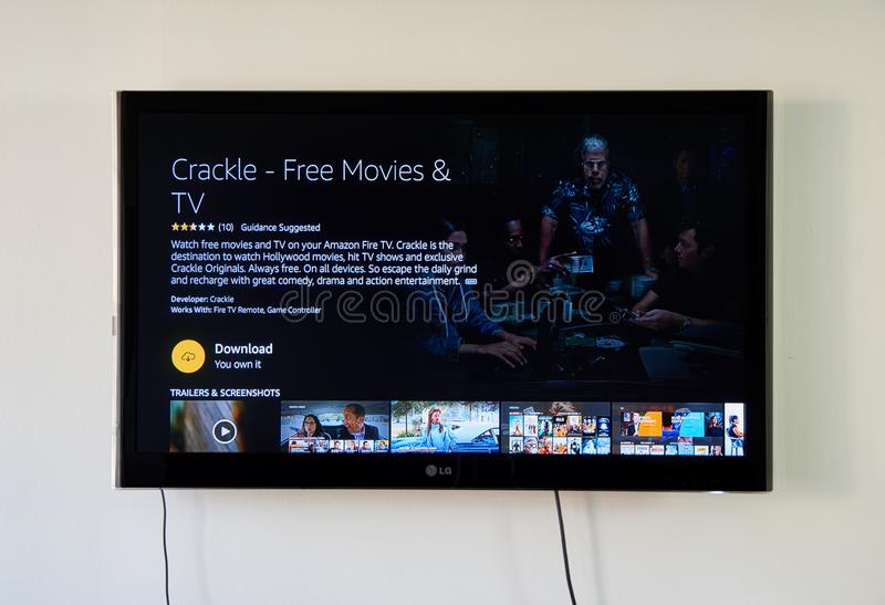 Download Crackle Download App Page On Lg Tv Screen Editorial Photography Image Of Company