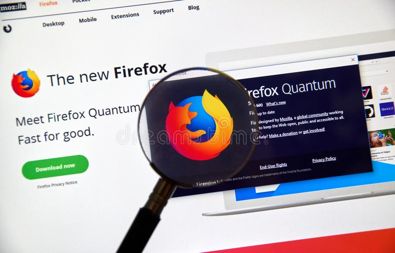 Firefox Quantum home page. royalty free stock photos