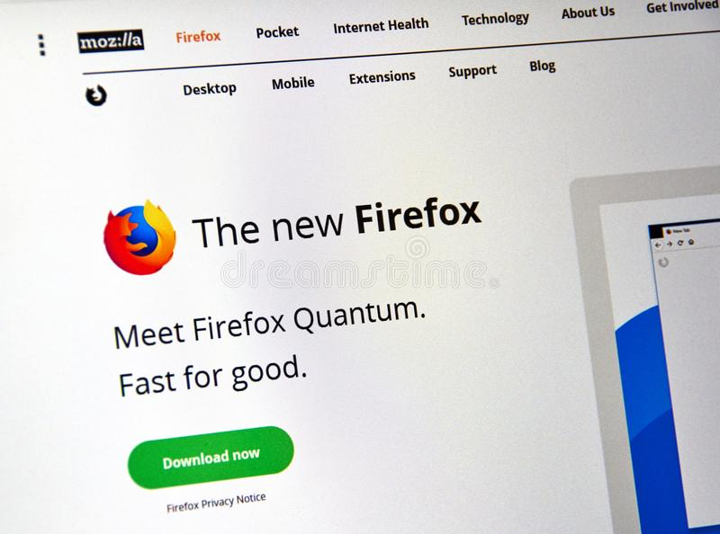 Firefox Quantum web page. MONTREAL, CANADA - NOVEMBER 14, 2017: Firefox Quantum web page. Firefox Quantum is a version of Mozilla s internet browser, said to be royalty free stock image