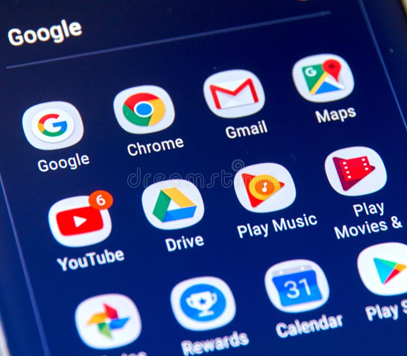 Google apps icons on Samsung S8 screen. MONTREAL, CANADA - NOVEMBER 12, 2017: Google apps icons on Samsung S8 screen. Google LLC is an American multinational royalty free stock images
