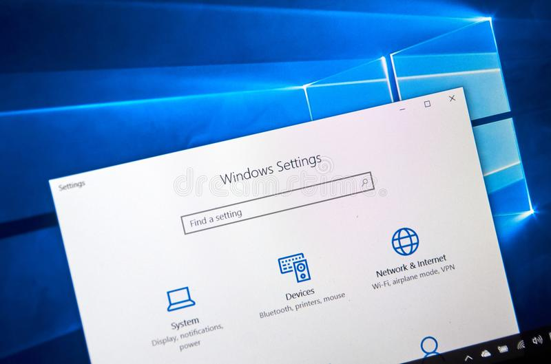Windows 10 settings page royalty free stock photography