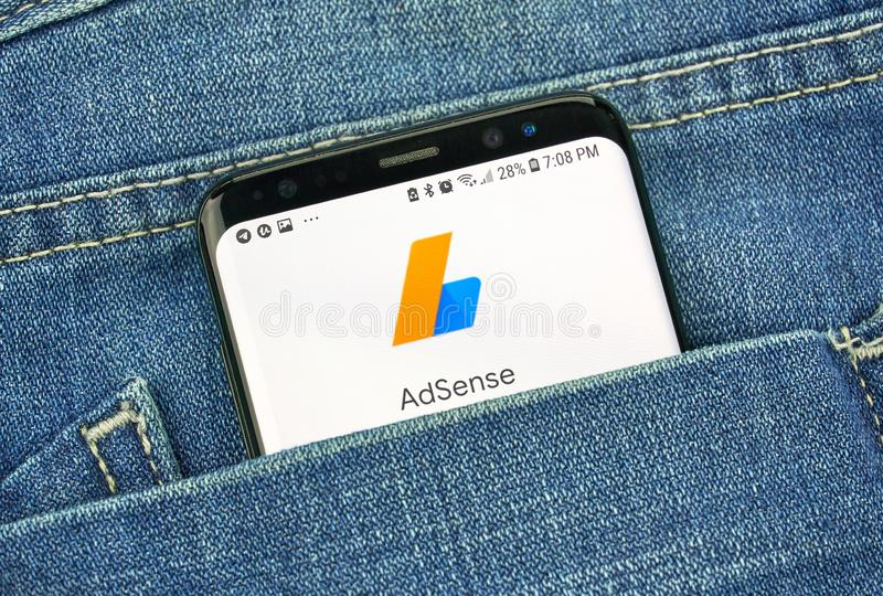 MONTREAL, CANADA - OCTOBER 4, 2018: Google Adsense app on s8 screen. Google is an American technology company which provides a. Variety of internet services royalty free stock photography