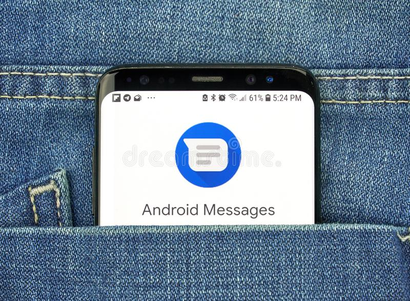 Google Android Message on a phone screen in a pocket. MONTREAL, CANADA - OCTOBER 4, 2018: Google Android Messages app on s8 screen. The app is Android's royalty free stock image