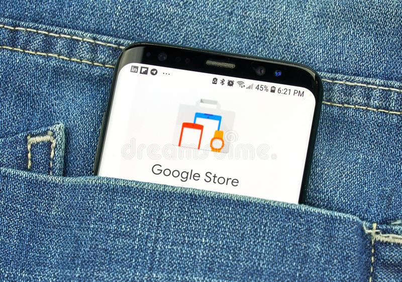 Google Store on a phone screen in a pocket. MONTREAL, CANADA - OCTOBER 4, 2018: Google Store on s8 screen. Google Store is an online retailer owned by Google stock photography