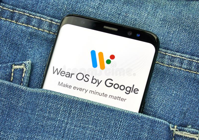 MONTREAL, CANADA - OCTOBER 4, 2018: Wear OS by Google on s8 screen. Google is an American technology company which provides a. Variety of internet services royalty free stock images