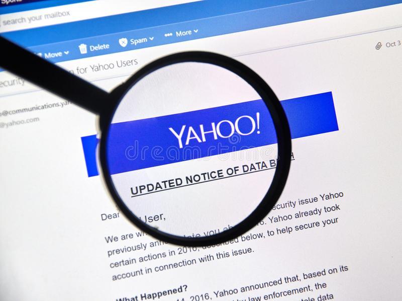 Yahoo updated Notice of newly discovered data breach. MONTREAL, CANADA - OCTOBER 9, 2017 : Yahoo updated Notice of data breach under magnifying glass. Yahoo! is stock photo