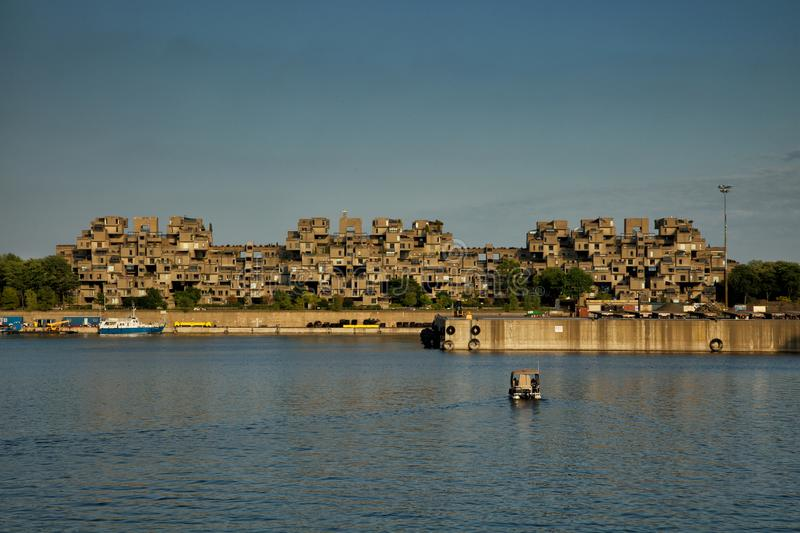 MONTREAL, CANADA - SEPT 14, 2017: Habitat 67 is a housing complex in Montreal of 354 identical, prefabricated concrete forms arra stock image