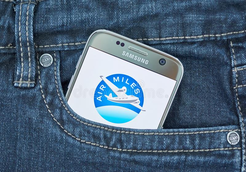 Air Miles mobile application on screen of Samsung stock photo