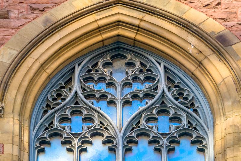 Montreal, Canada: St. James United Church, architectural detail. Saint James United Church window decoration architectural detail. The famous hege church is a royalty free stock photo