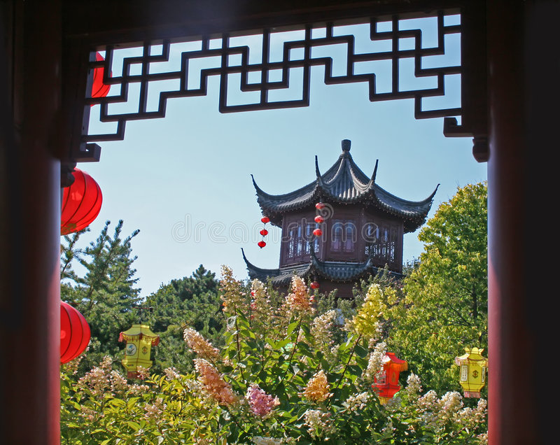 Montreal Chinese garden. royalty free stock images