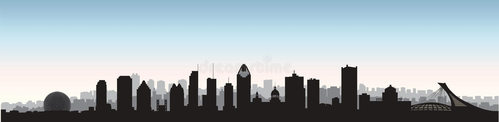 Montreal city, Canada skyline. Cityscape panoramic silhouette with famous buildings. Canadian landmarks. Urban architectural landscape vector illustration