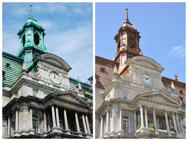 Montreal City Hall Comparison royalty free stock photo