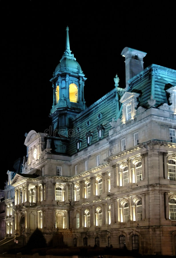 Montreal City Hall at Night. Montreal City Hall in the Old Port, Lit up at Night royalty free stock photos