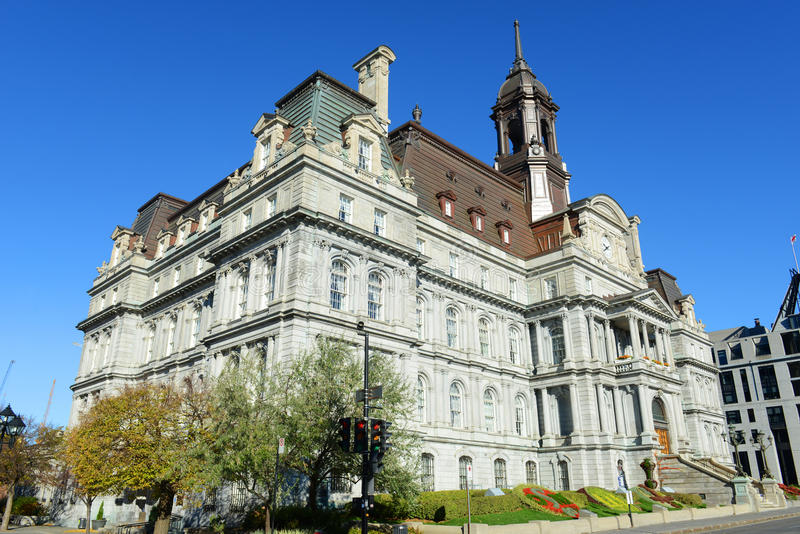 Montreal City Hall, Quebec, Canada. Montreal city hall is a French Empire style building in old town Montreal, Quebec, Canada stock photos