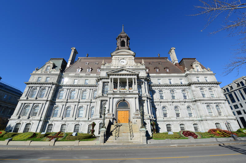 Montreal City Hall, Quebec, Canada. Montreal City Hall wide angle, Montreal city hall is a French Empire style building in old town Montreal, Quebec, Canada royalty free stock image