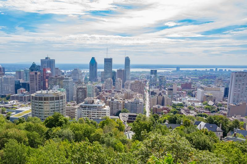 Summer Montreal City Skyline. From Mount Royal stock photo
