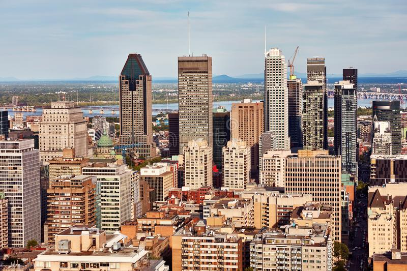 Montreal city skyline view from Mount Royal in Quebec, Canada. Montreal city skyline view from Mount Royal on a sunny summer afternoon in Quebec, Canada stock photo