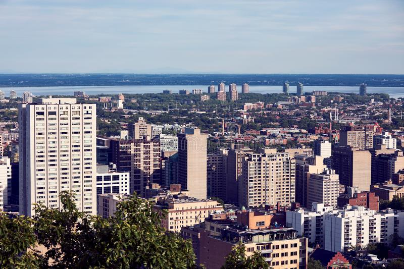 Montreal city skyline view from Mount Royal in Quebec, Canada. Montreal city skyline view from Mount Royal on a sunny summer afternoon in Quebec, Canada royalty free stock photos