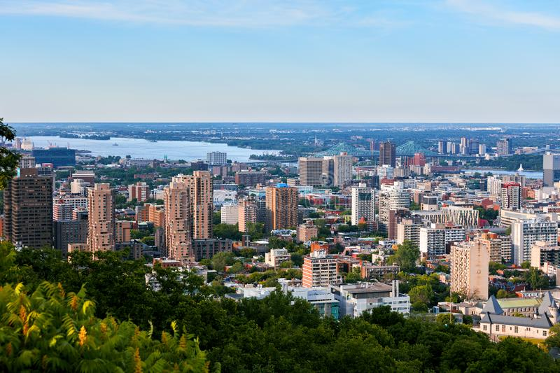 Montreal city skyline view from Mount Royal in Quebec, Canada. Montreal city skyline view from Mount Royal on a sunny summer afternoon in Quebec, Canada stock images