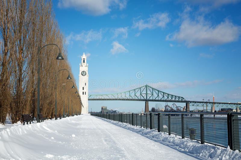 Montreal Clock Tower in winter stock images