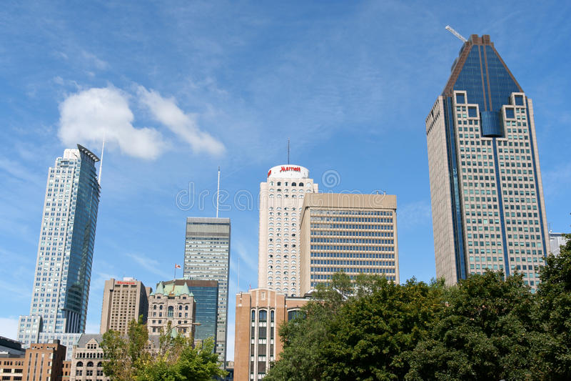 Montreal downtown skyscrapers royalty free stock photos