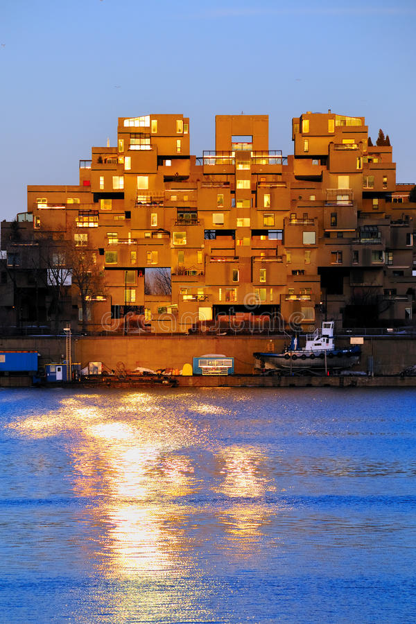 montreal för 67 livsmiljö solnedgång fotografering för bildbyråer
