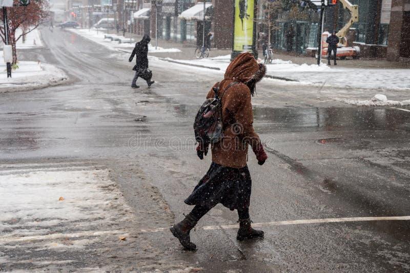 Montreal första snöfall av säsongen arkivfoto