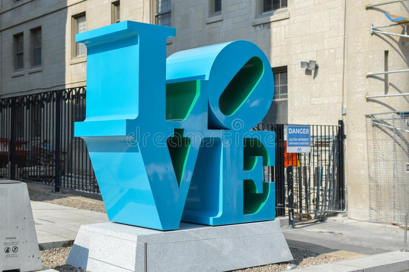 Montreal Fine Arts Museum. Montreal, Canada - September 16, 2017: Montreal Fine Arts Museum with a Beautiful Sculpture of LOVE royalty free stock images