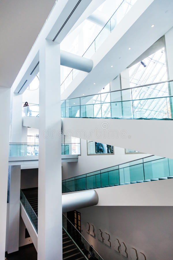 Montreal Fine Arts Museum Modern Staircase Set. Editorial - Montreal, Canada. Fine Arts Museum Modern Staircase Set with Natural sun light royalty free stock photo
