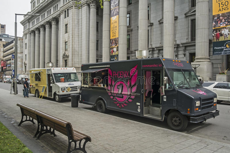 Montreal food trucks stock photo