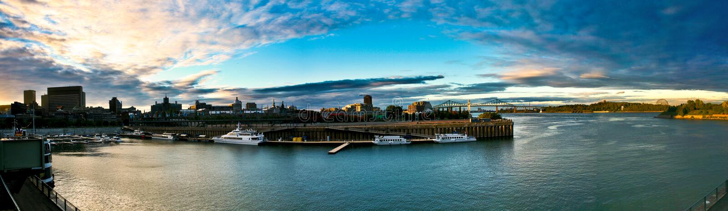 montreal gammal panorama- portsikt royaltyfria bilder