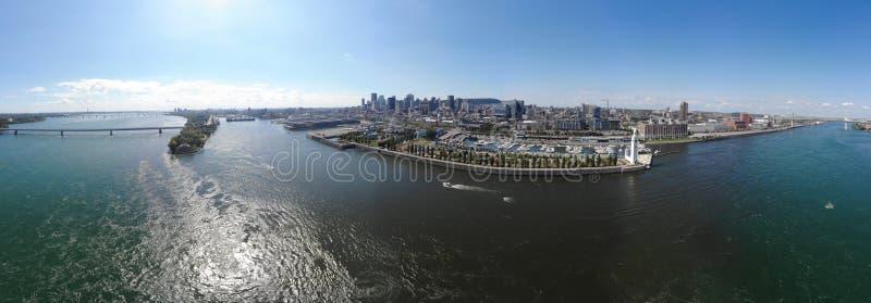 Montreal-Hafen Panorama der Vogelperspektive 360, Brücke Concorde und Brücke Jacques Cartier stockfoto
