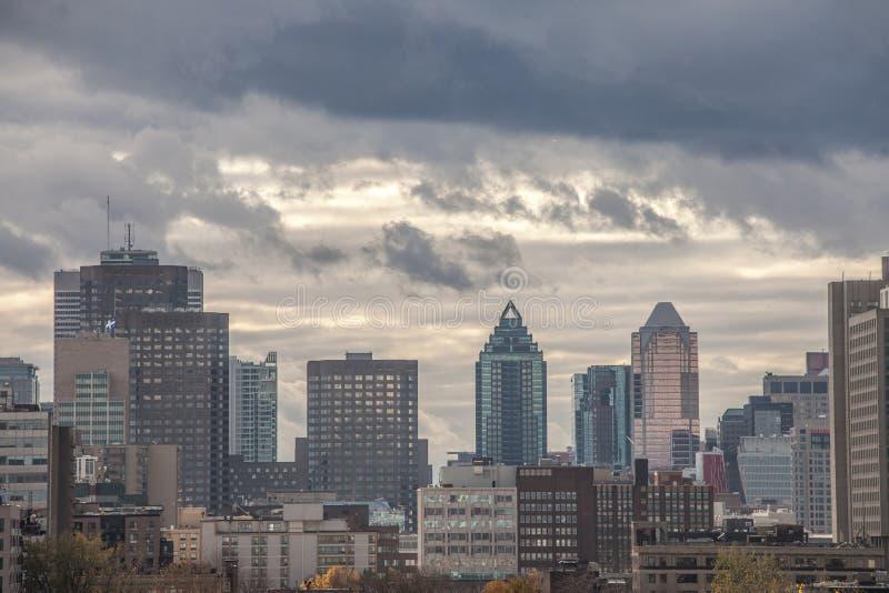 Montreal horisont, med de iconic byggnaderna av CBD-affärsskyskraporna arkivfoto